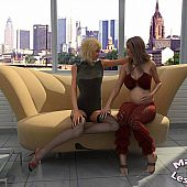 Golden-haired doxy plays lesbo.
