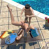 Lesbian babes making poolside.