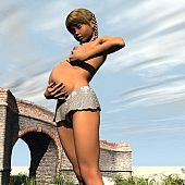 Walking brige young pregnant.