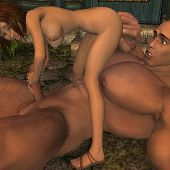 A village hotty has a secret romance with a forest giant.